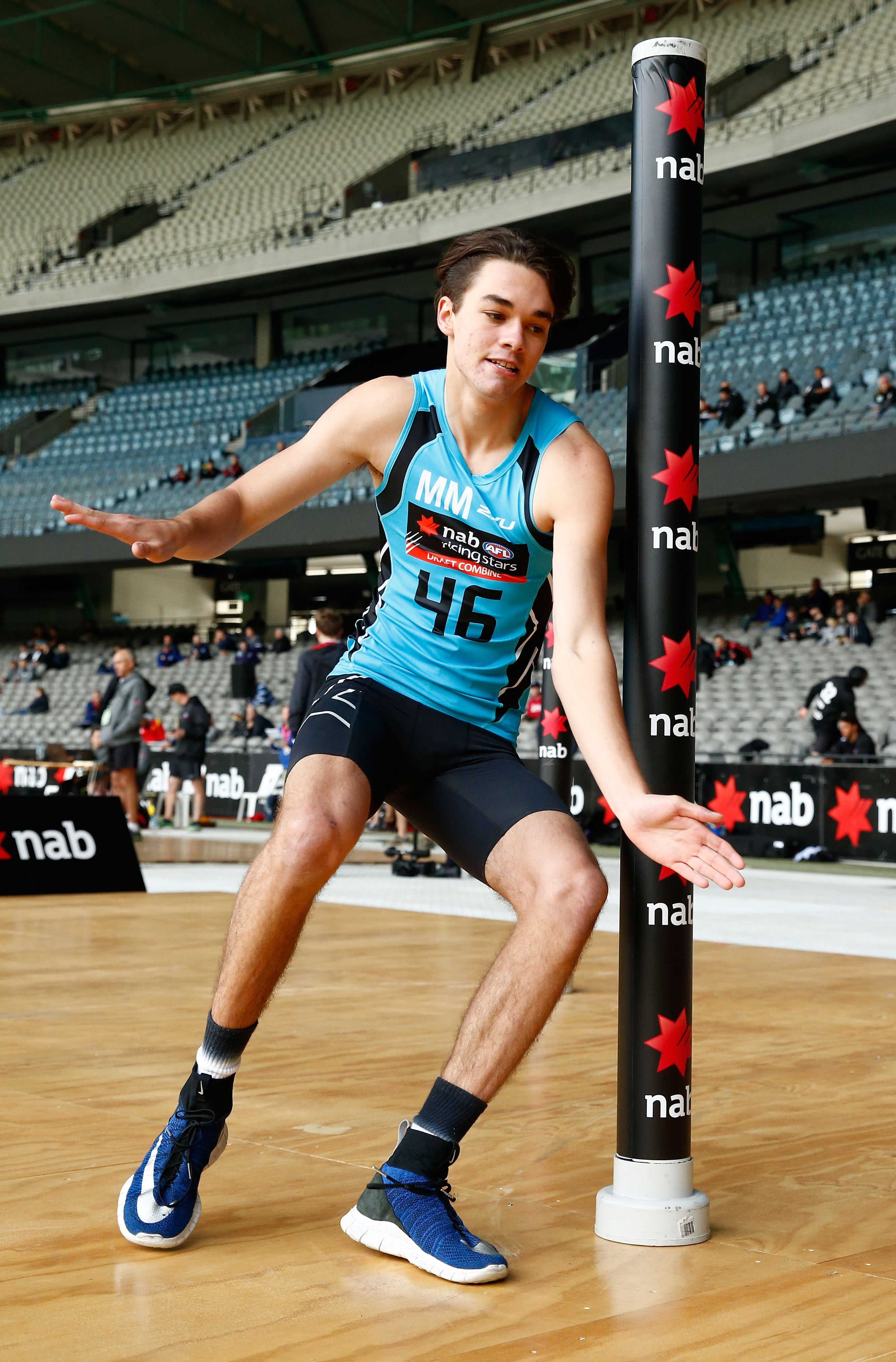 MELBOURNE, AUSTRALIA - OCTOBER 08: Josh Williams completes an agility test during the NAB AFL Draft Combine at Etihad Stadium on October 08, 2016 in Melbourne, Australia. (Photo by Adam Trafford/AFL Media)