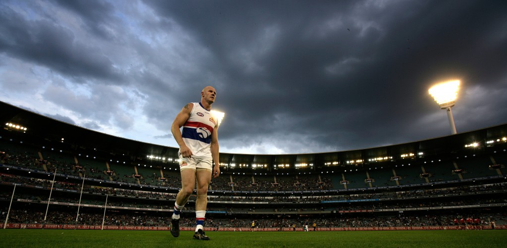 Barry Hall of the Western Bulldogs leaves the field during the AFL Round 02 match between the Richmond Tigers and the Western Bulldogs at the MCG, Melbourne.