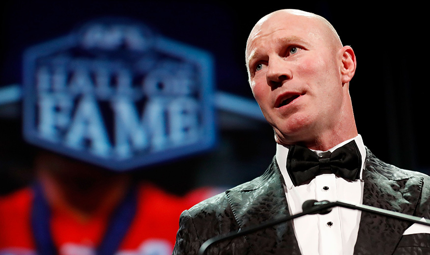 ADELAIDE, AUSTRALIA - JUNE 20: 2017 Hall of Fame inductee Barry Hall addresses the room during the 2017 Australian Football Hall of Fame Dinner at the Adelaide Oval on June 20, 2017 in Adelaide, Australia. (Photo by Michael Willson/AFL Media)