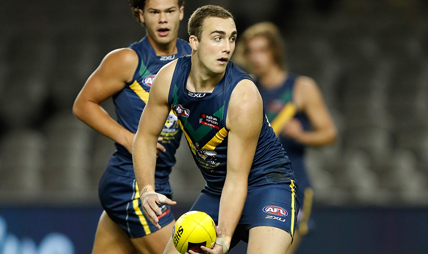 MELBOURNE, AUSTRALIA - APRIL 15: Brayden Crossley in action during the AFL Academy v Northern Blues match at Etihad Stadium in Melbourne, Australia on April 15, 2017. (Photo by Michael Willson/AFL Media)