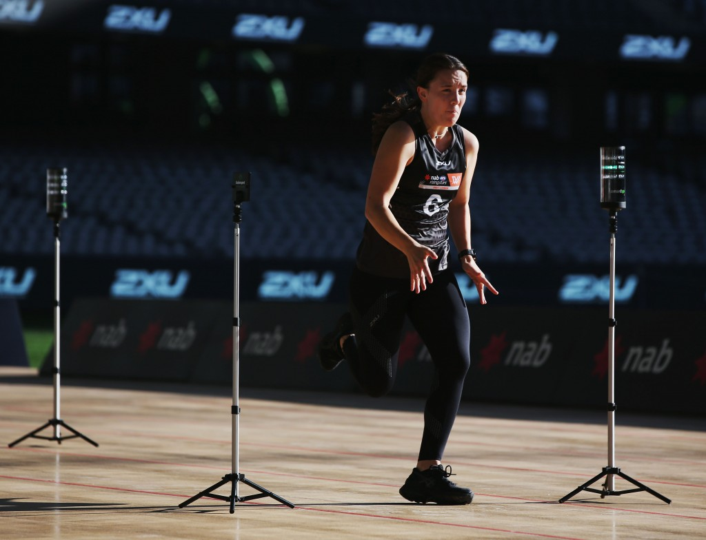 MELBOURNE, AUSTRALIA - OCTOBER 04: Arianna Clarke from Coolangatta takes part in the 20m sprint during the AFLW Draft Combine at Etihad Stadium on October 4, 2017 in Melbourne, Australia. (Photo by Michael Dodge/Getty Images/AFL Media)
